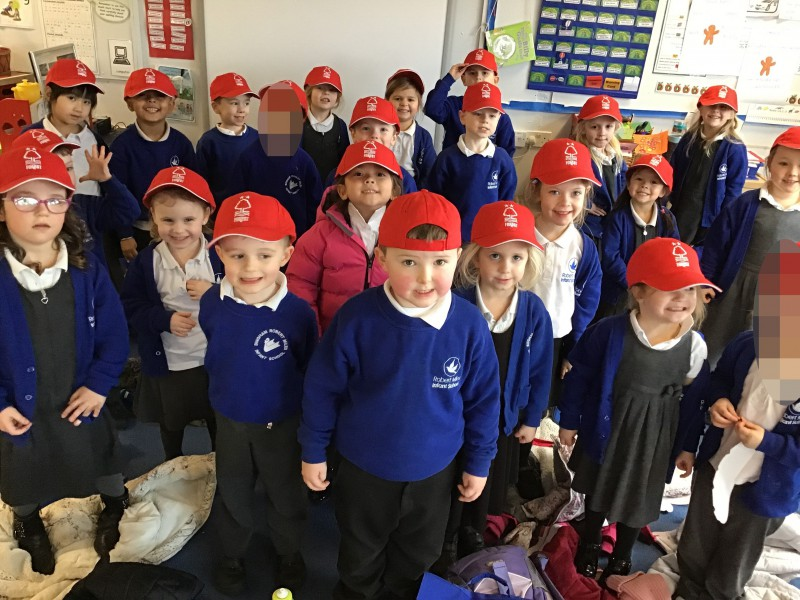 Willow Class wearing their Nottingham Forest FC hats