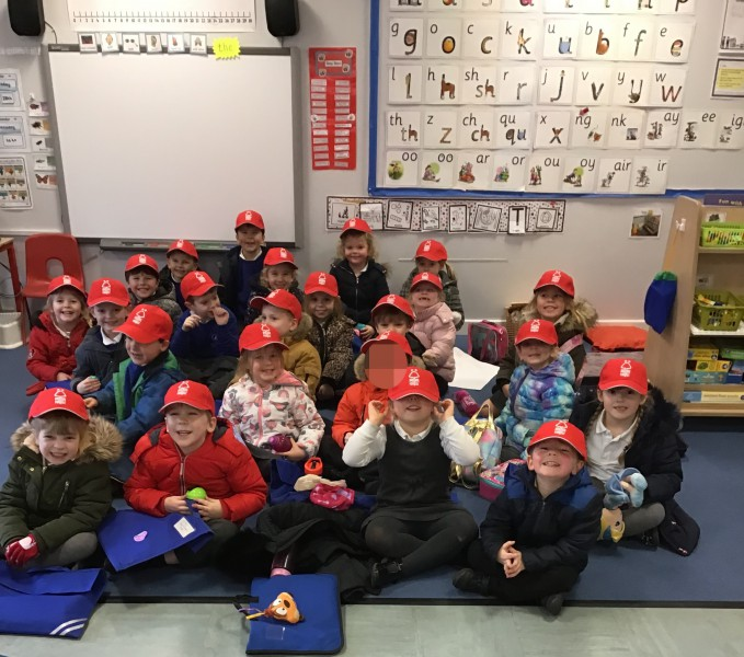 Maple class wearing their Nottingham Forest FC hats